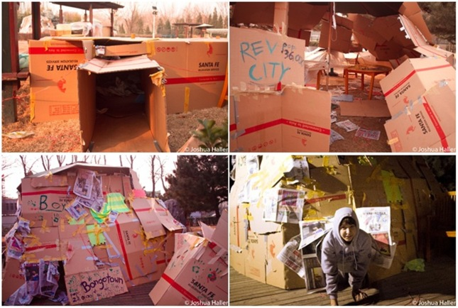 Various cardboard constructions made by the Beijing 30 Hour Famine youth. Yes, they slept outside in these shelters!