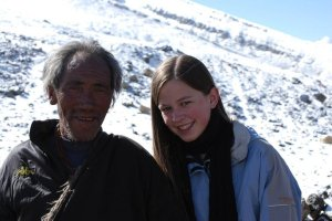 Bethany with a Tibetan nomad